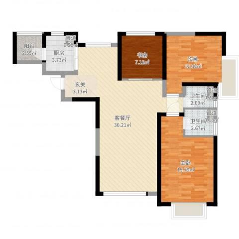 北辰红星国际广场3室2厅2卫1厨103.00㎡户型图