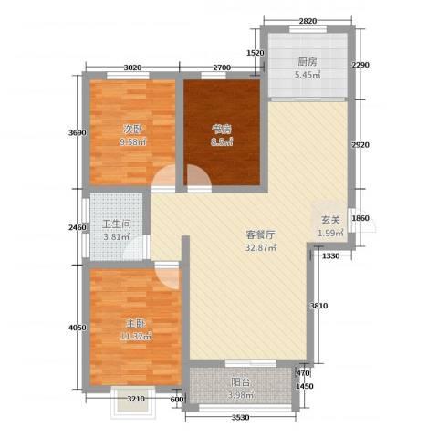 内丘锦江华庭3室2厅1卫1厨118.00㎡户型图