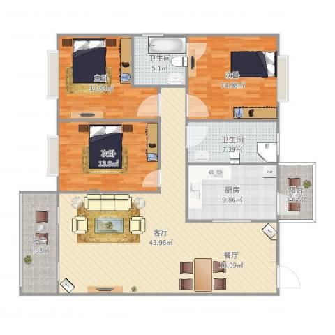 侨滨苑3室1厅2卫1厨149.00㎡户型图