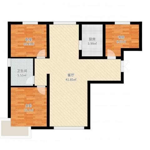 恒盛皇家花园2室1厅1卫1厨106.00㎡户型图