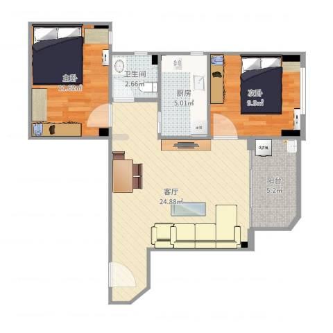华侨城现格局2室1厅1卫1厨74.00㎡户型图