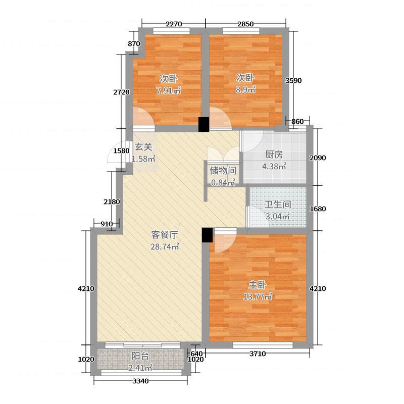 金辉・湖畔里83.00㎡Y2洋房户型3室3厅1卫1厨