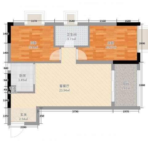 新光天地2室2厅1卫1厨72.00㎡户型图
