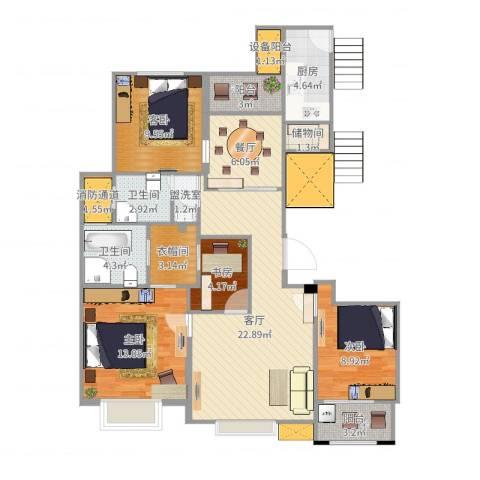 中楠时代花园4室4厅4卫2厨114.00㎡户型图