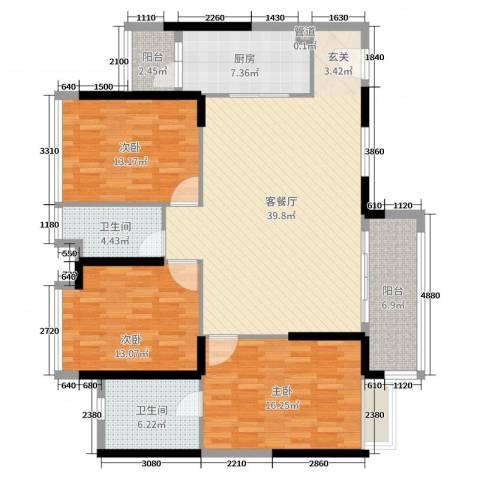 海伦湾3室2厅2卫1厨135.00㎡户型图