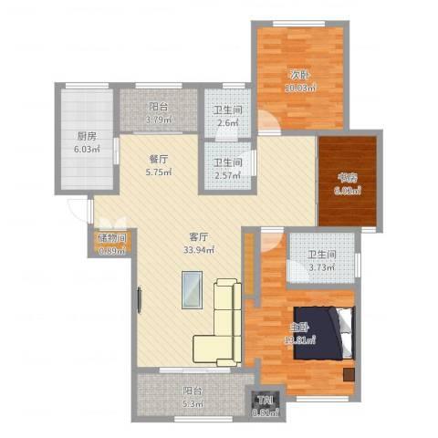 铂悦山3室1厅3卫1厨113.00㎡户型图
