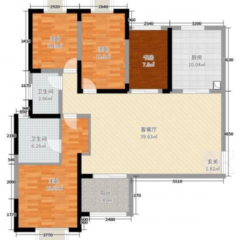 海门东恒盛国际公馆4室2厅2卫1厨138.00㎡户型图