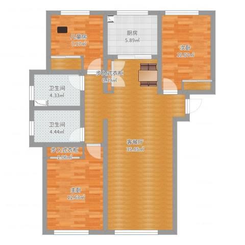 保利茉莉g公馆3室2厅2卫1厨104.00㎡户型图