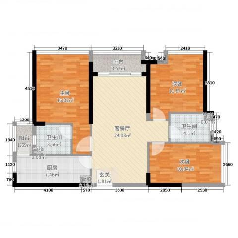 海伦湾3室2厅2卫1厨83.25㎡户型图