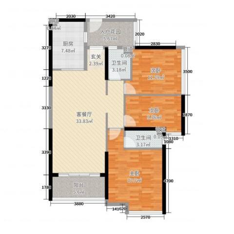海伦湾3室2厅2卫1厨97.95㎡户型图