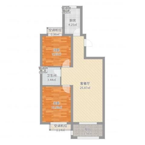 诚安友谊天地2室2厅1卫1厨76.00㎡户型图
