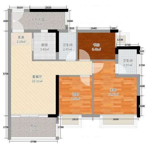 正德天水湖3室2厅2卫1厨89.00㎡户型图