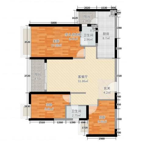 海伦湾3室2厅2卫1厨90.29㎡户型图