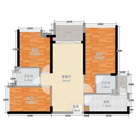 海伦湾3室2厅2卫1厨98.00㎡户型图