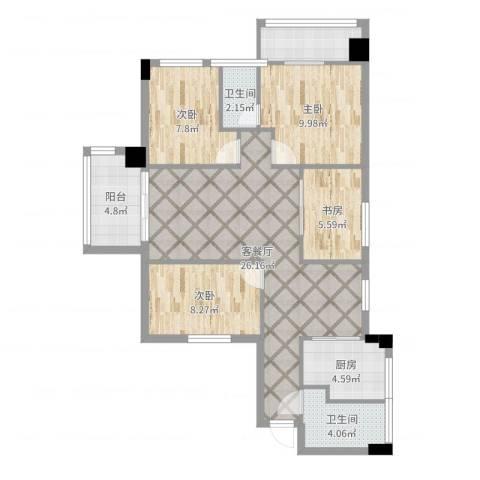 东苑小区4室2厅2卫1厨96.00㎡户型图