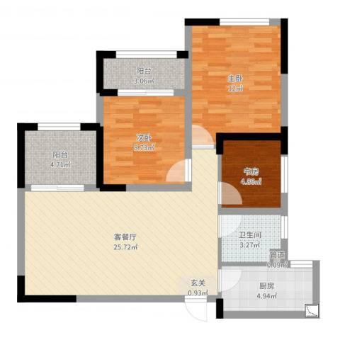 优山美地3室2厅1卫1厨84.00㎡户型图