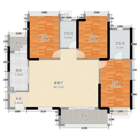 海伦湾3室2厅2卫1厨136.00㎡户型图