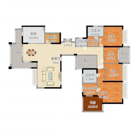 珠海市华发新城五期4室2厅3卫1厨297.00㎡户型图