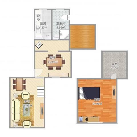 绿川公寓1室2厅1卫1厨76.00㎡户型图
