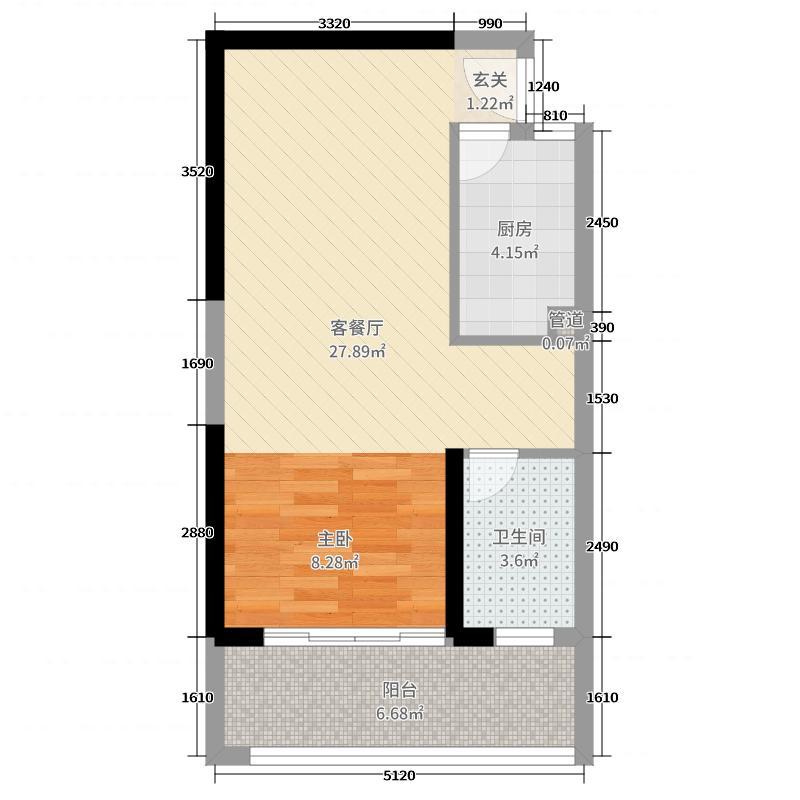 中山奥园59.00㎡H3公寓户型1室1厅1卫1厨