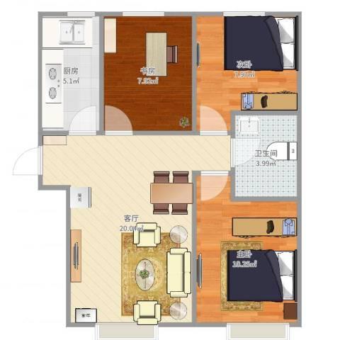 中国铁建·青秀尚城3室1厅1卫1厨69.00㎡户型图