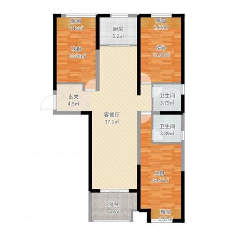 保利建业・香槟国际3室2厅2卫1厨124.00㎡户型图