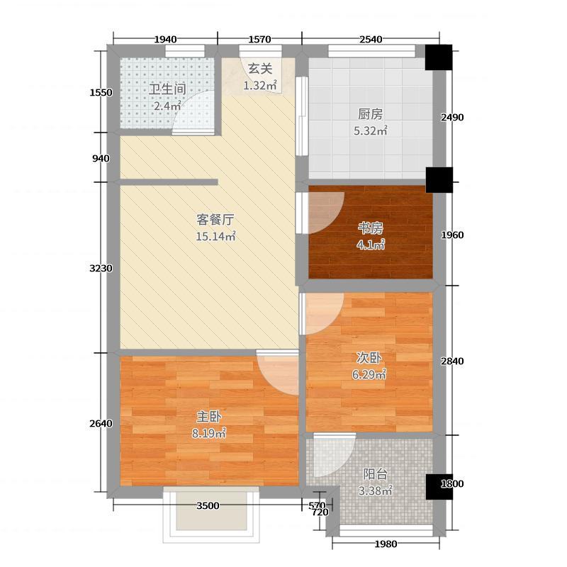 瀚海首筑56.00㎡A户型3室3厅1卫1厨