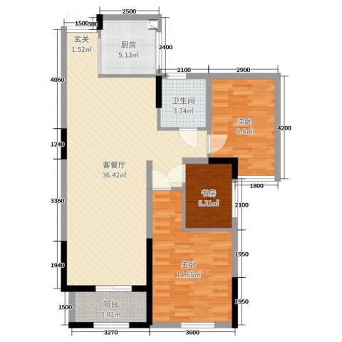 恒丰金玉园3室2厅1卫1厨112.00㎡户型图