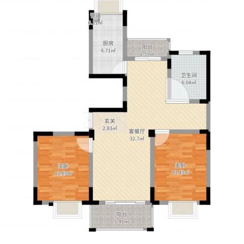 保集半岛2室2厅1卫1厨100.00㎡户型图