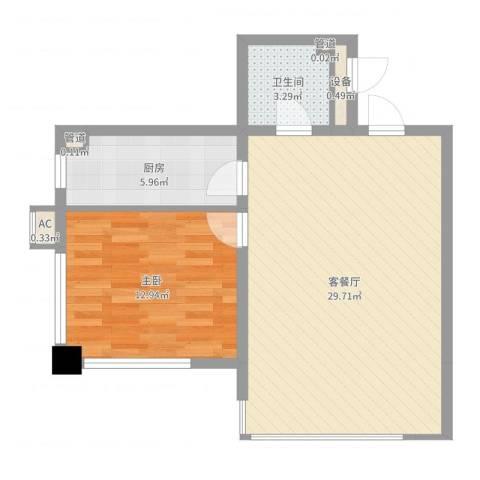 曙光大厦1室2厅1卫1厨52.85㎡户型图