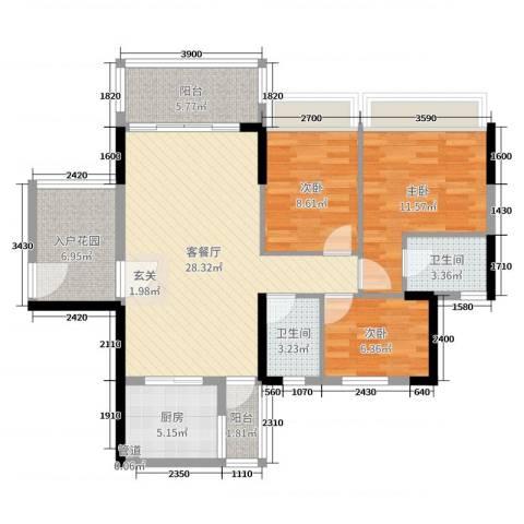 正德天水湖3室2厅2卫1厨100.00㎡户型图