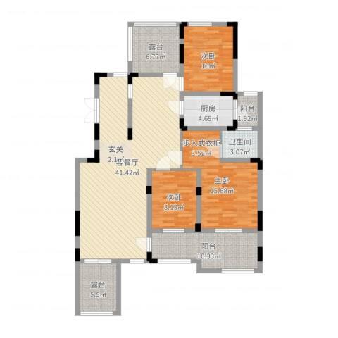 金科东方大院3室2厅1卫1厨134.00㎡户型图