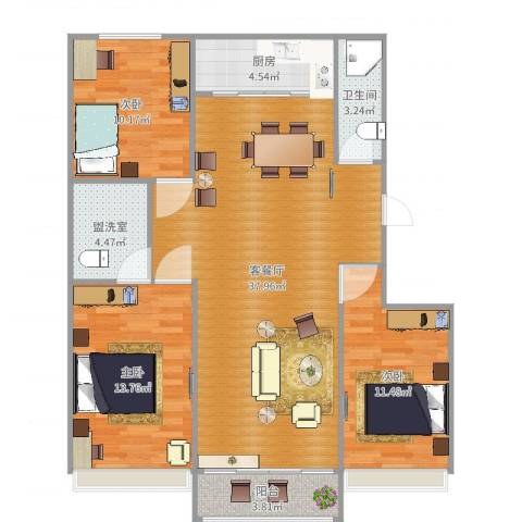 银河御府3室4厅1卫1厨112.00㎡户型图
