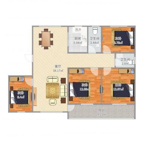 海棠公社4室1厅2卫1厨125.00㎡户型图