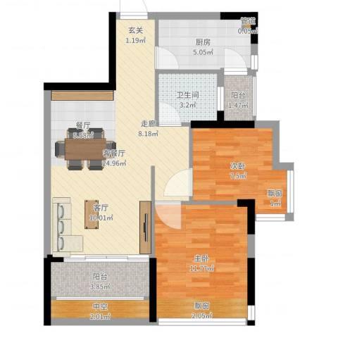 碧水龙庭二期2室2厅1卫1厨59.85㎡户型图