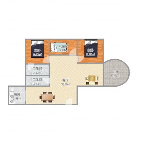 中信惠扬3室1厅2卫1厨94.00㎡户型图