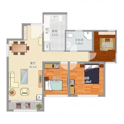 朗晴居3室1厅1卫1厨93.00㎡户型图