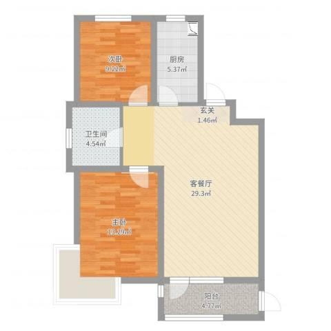 天房意境2室2厅1卫1厨83.00㎡户型图