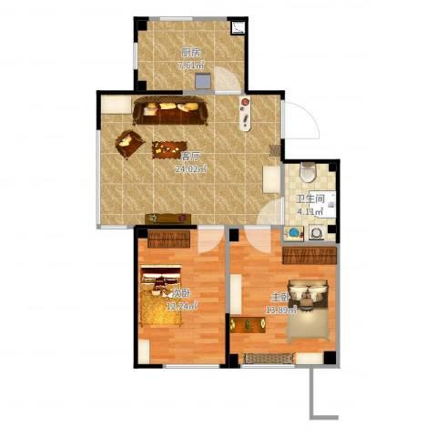 马德里皇家水岸2室1厅1卫1厨77.00㎡户型图