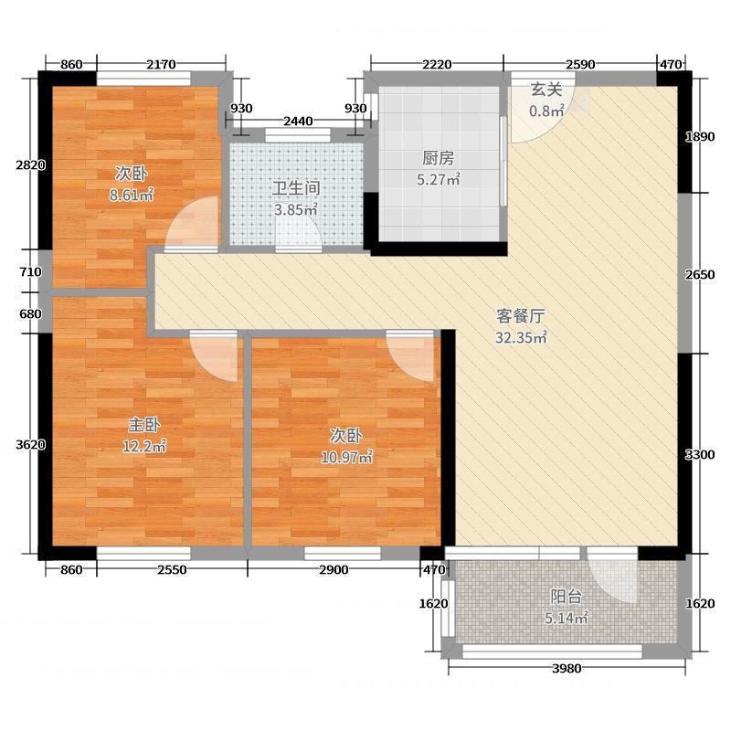中海・珑湾98.00㎡一期1-8#10-12#17-19#21#23#25#26#楼A户型3室3厅1卫1厨