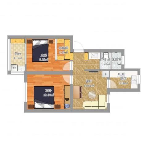万寿新村2室1厅1卫1厨61.00㎡户型图