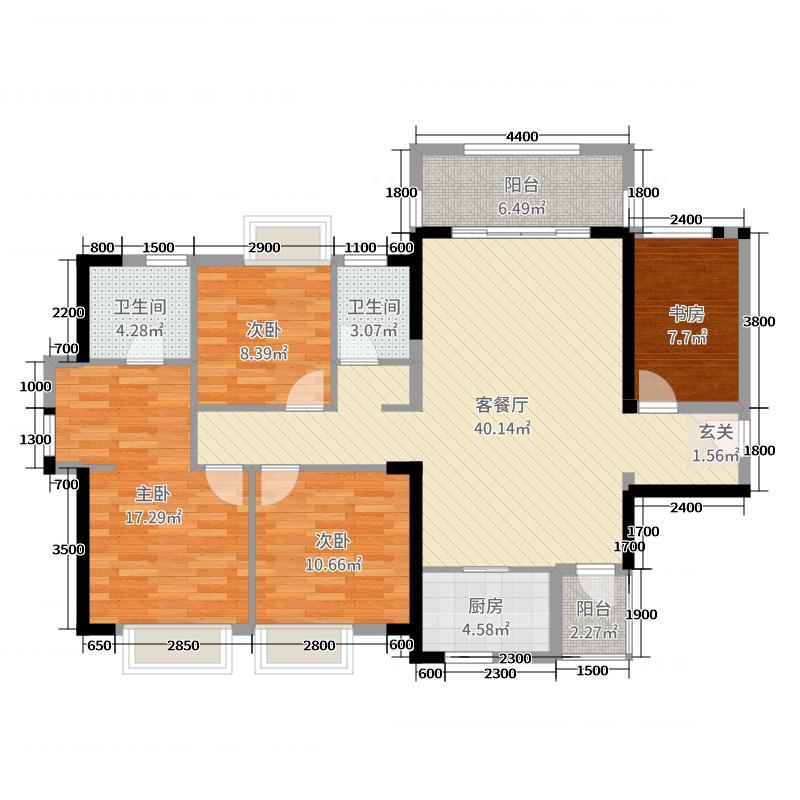 大唐印象125.00㎡1#-3#楼A户型3室3厅2卫1厨