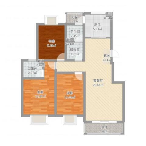 天地新城3室4厅2卫1厨104.00㎡户型图