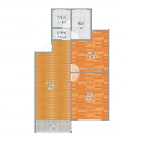 莱阳新家园2室2厅1卫1厨80.00㎡户型图
