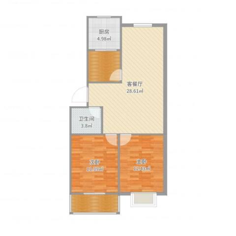 和平嘉园2室2厅1卫1厨90.00㎡户型图