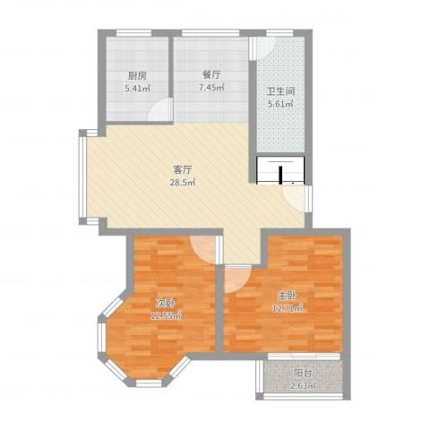 证大家园四期2室1厅1卫1厨84.00㎡户型图