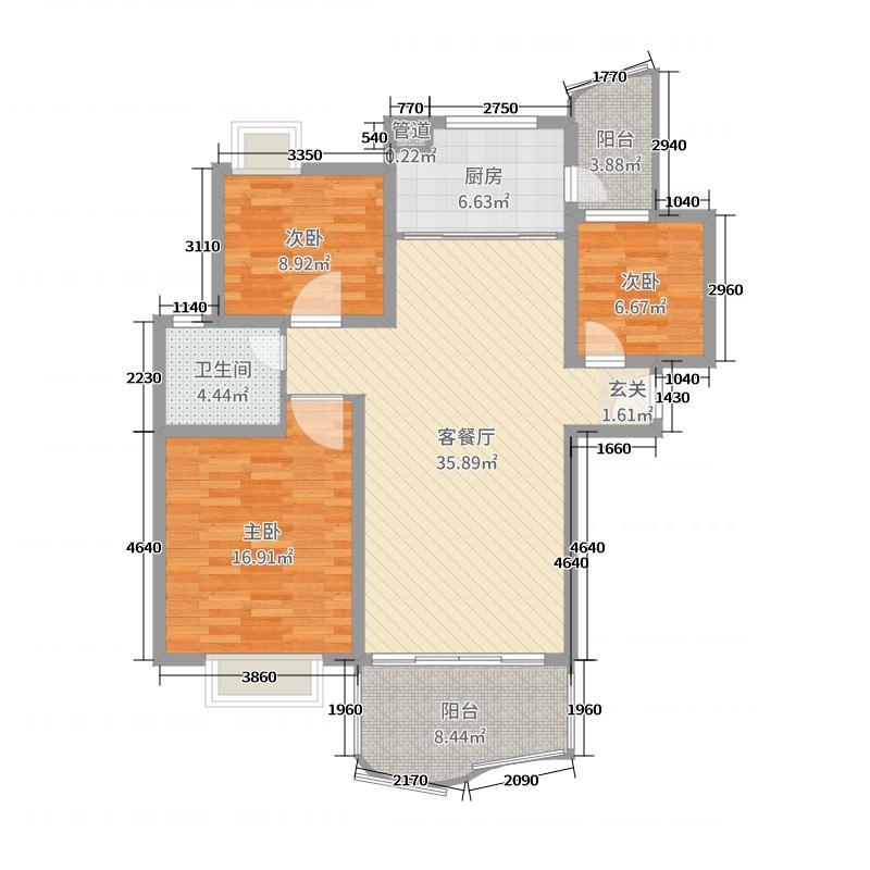 如东碧桂园115.00㎡2#、3#、4#、5#楼朝南边户J472-C户型3室3厅1卫1厨