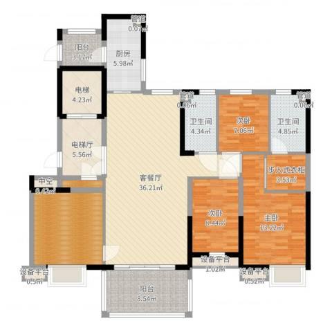 沈阳恒大御景湾3室2厅2卫1厨151.00㎡户型图