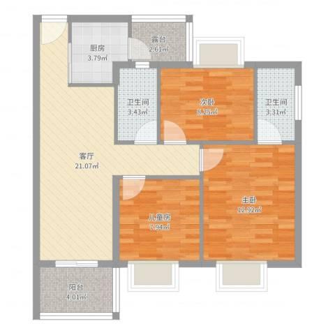翠景苑3室1厅2卫1厨84.00㎡户型图