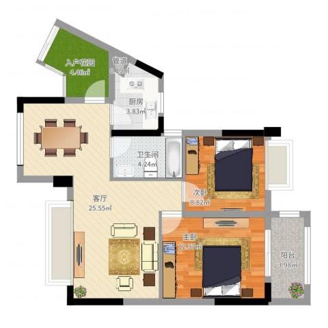 元邦明月金岸2室1厅1卫1厨79.00㎡户型图